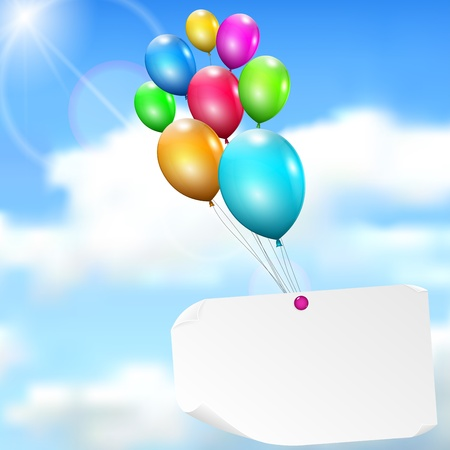Multicolored balloons with paper card on sky background with sun, and clouds Vector