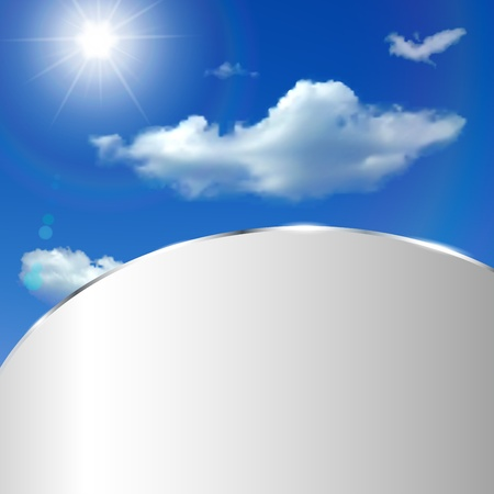 metallic  sun: Abstract background with sky, clouds, sun and metallic strip