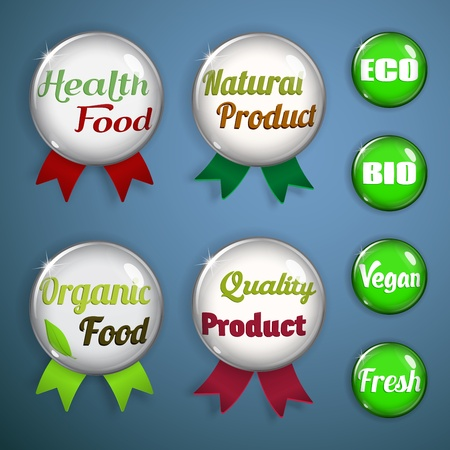 Set of labels, badges and stickers from glass on organic and natural food Vector