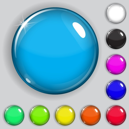 Set of multicolored glass buttons with shadows Vector