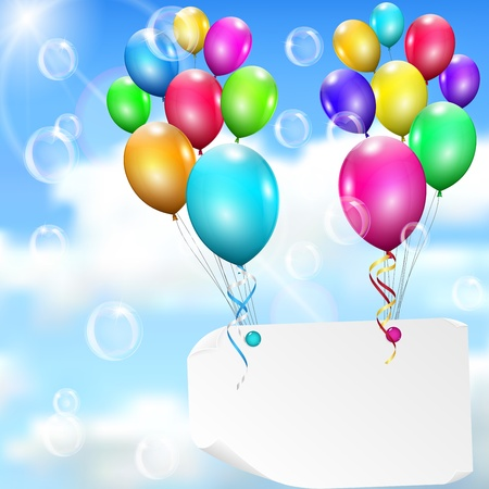 Multicolored balloons with paper card on sky background with sun, clouds and soap bubbles