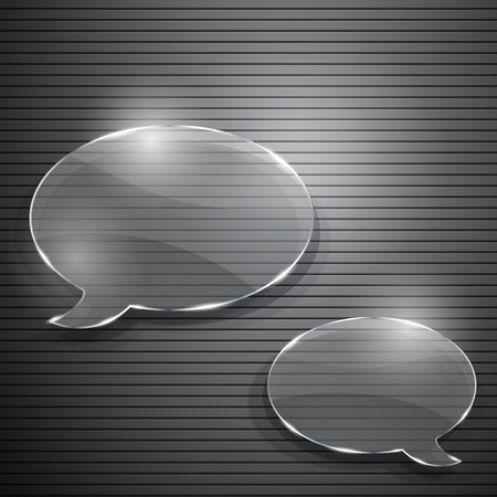Two speech bubbles from glass on gray striped background Vector