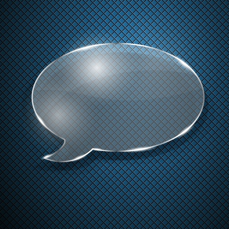 fluted: Speech bubble from glass on blue fluted background