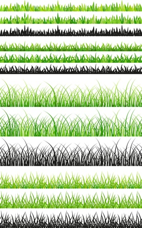Several sets of seamless green grass and black silhouettes Vector