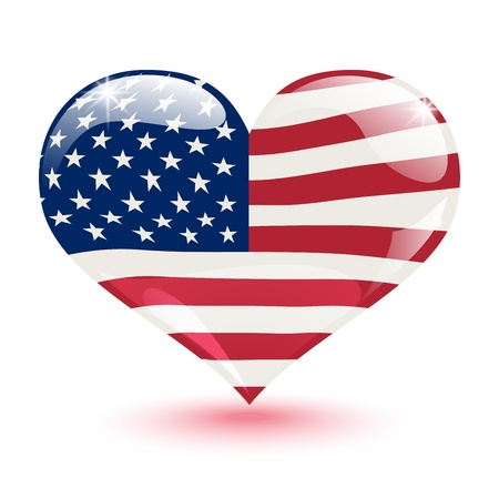 Flag of the United States in the form of heart on white background Stock Vector - 20721765