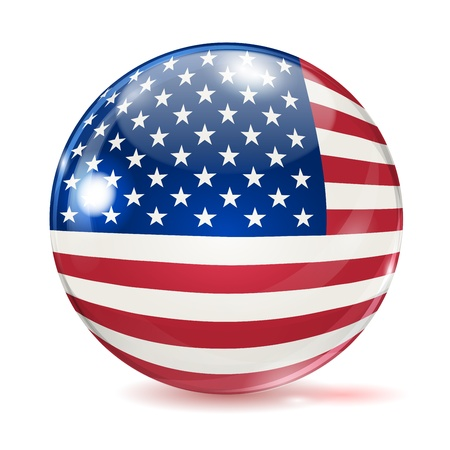 Flag of the United States in the form of ball with glare and shadows on white background Stock Vector - 20721766