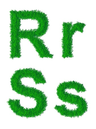 s: Green grass alphabet, big and small letters R, S