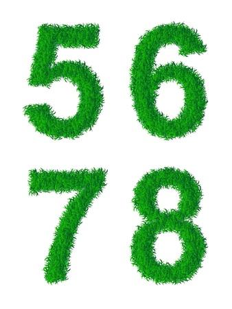 6 7: Green grass alphabet, digits 5, 6, 7, 8