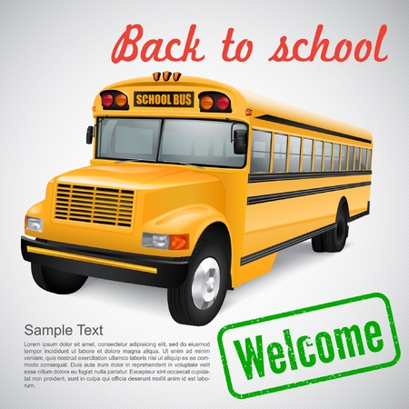 Realistic school bus on striped background Vector