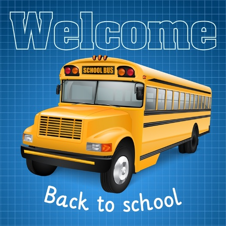 Realistic school bus on blue checkered background Vector
