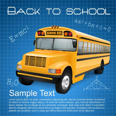 old school: Realistic school bus on blue checkered background with inscriptions