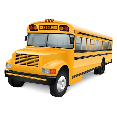 Realistic yellow school bus on white background Vector