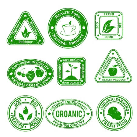 Set of scratched stamps on organic and natural food in green color Vector