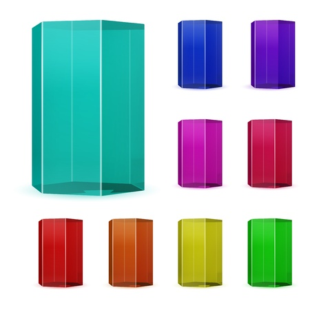Set of multicolored glass prisms Illustration
