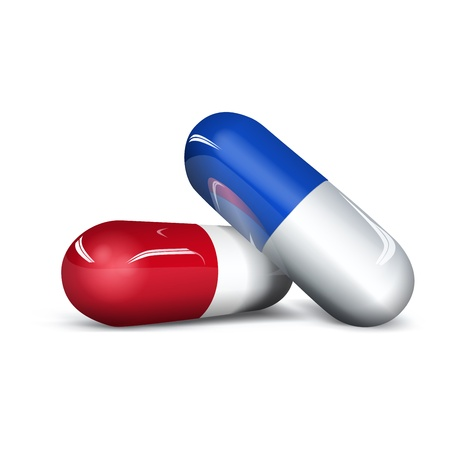 Red and blue capsule with shadow on white background Illustration