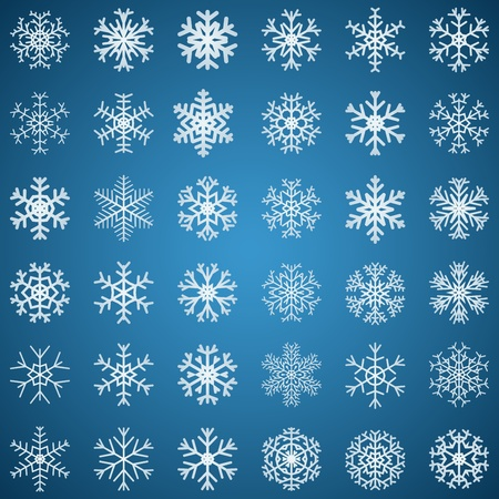 Set of white snowflakes various forms on blue background