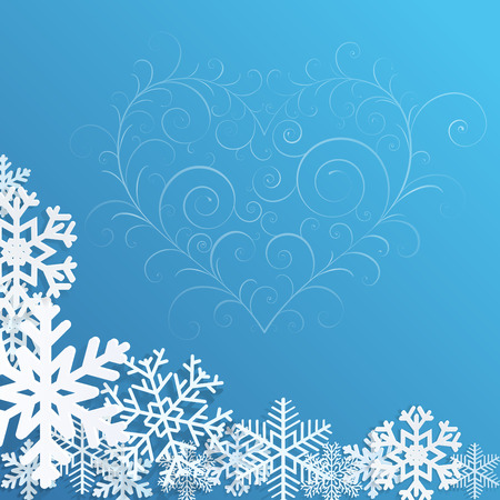 Christmas background with snowflakes and heart on blue Vector