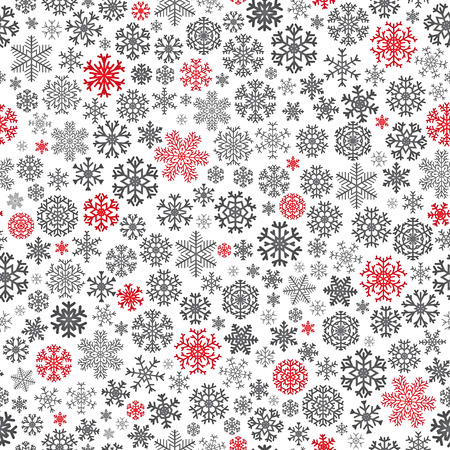 Christmas seamless pattern from red and black snowflakes on white background Illustration