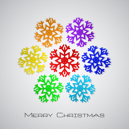 Christmas background with rainbow snowflakes Vector