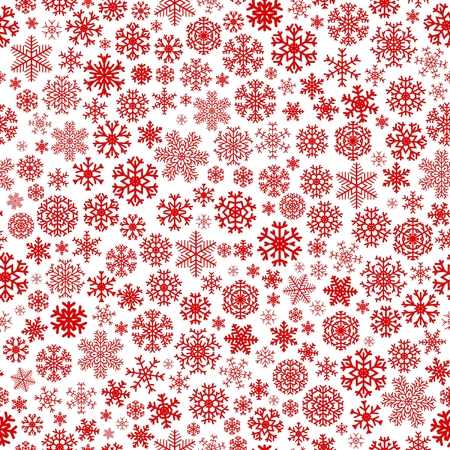 Christmas seamless pattern from red snowflakes on white background