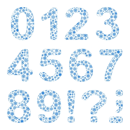 6 7: Alphabet from snowflakes, digit 0, 1, 2, 3, 4, 5, 6, 7, 8, 9 and punctuation marks