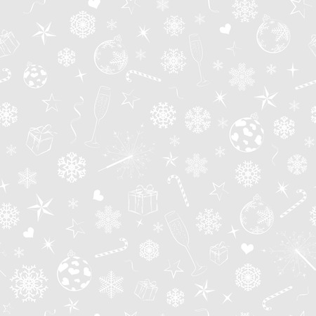 Seamless pattern from christmas symbols, white on gray
