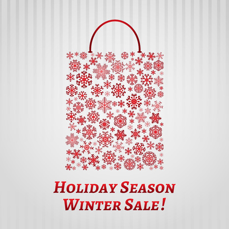 Christmas shopping bag from red snowflakes  Vector