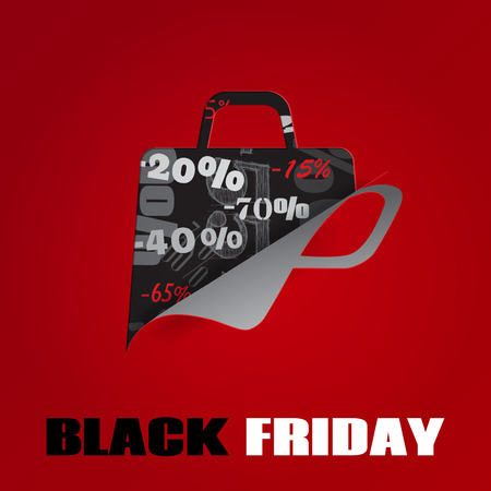 Background on Black Friday with a shopping bag, cut from paper Vector