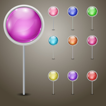 Set of markers with multicolored spheres Vector