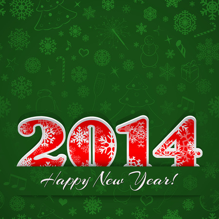 New year background with digits 2014 and snowflakes on green Vector