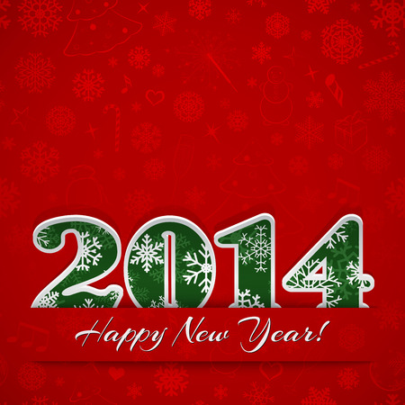New year background with digits 2014 and snowflakes on red