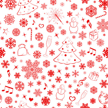 Seamless pattern with snowflakes and Christmas symbols, red on white