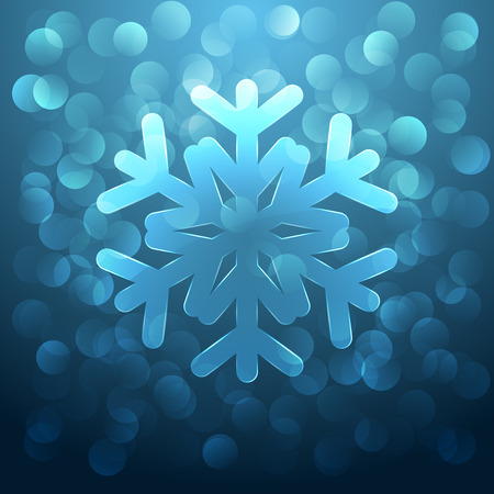 Christmas background with glass snowflake and glare on blue Vector