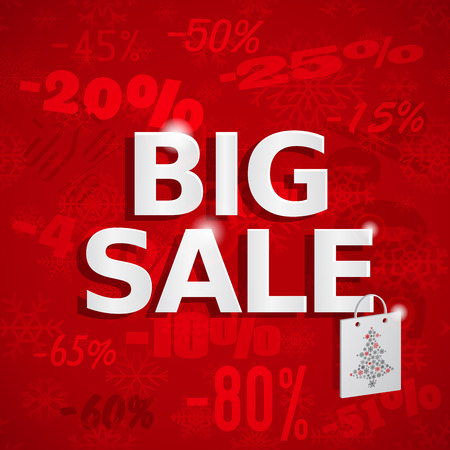 the inscription: Christmas sales red background with snowflakes and inscription Big Sale Illustration