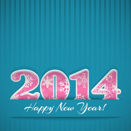 New year background with digits 2014 and stripes on blue Vector