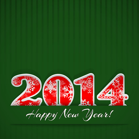 New year background with digits 2014 and stripes on green Vector