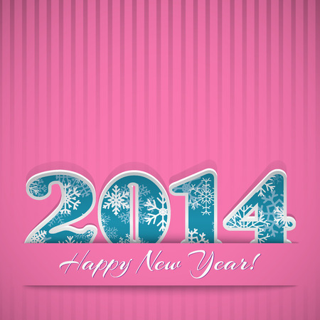 New year background with digits 2014 and stripes on pink Stock Vector - 22804776