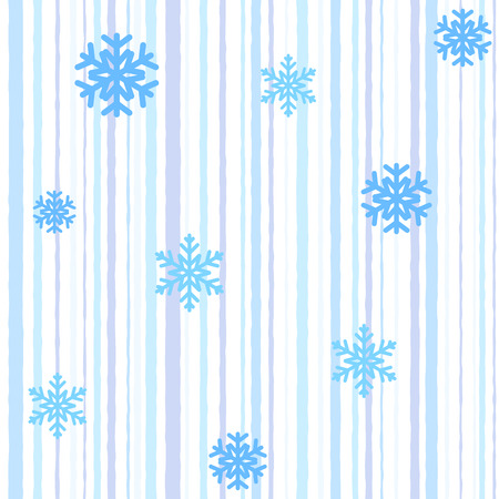 Christmas seamless pattern with blue stripes and snowflakes Vector