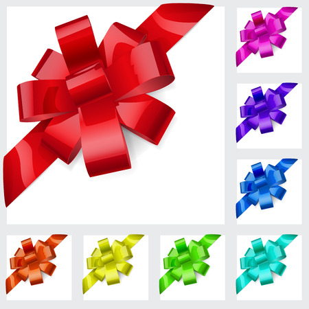 slantwise: Set of bows made of shiny multicolored ribbons. Decorations for a gifts.