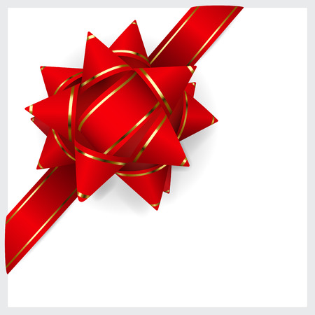 bow: Bow made of red ribbon with golden strips. Decoration for a gift.
