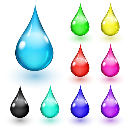 Set of multicolored drops with shadows on white background