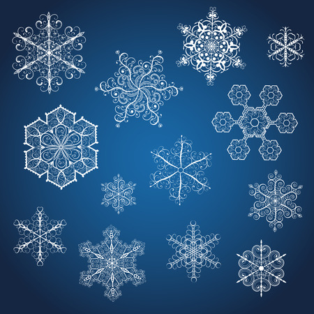Set of big white snowflakes various forms on blue background