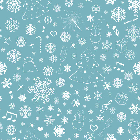 Seamless pattern with snowflakes and Christmas symbols, white on turquoise Illustration