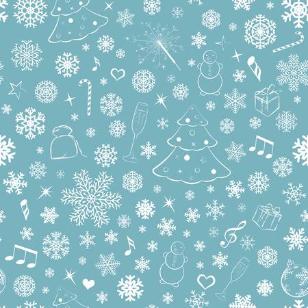 Seamless pattern with snowflakes and Christmas symbols, white on turquoise Ilustração
