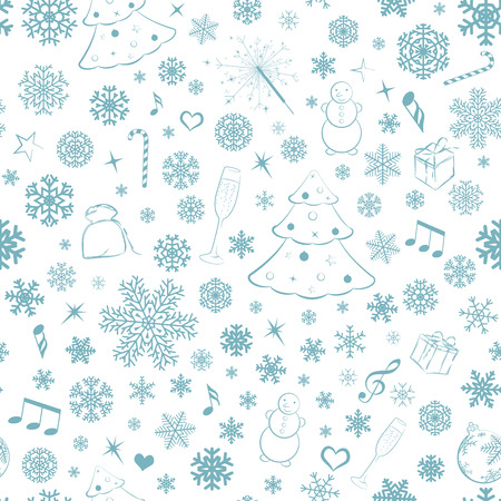 Seamless pattern with snowflakes and Christmas symbols, turquoise on white Vector