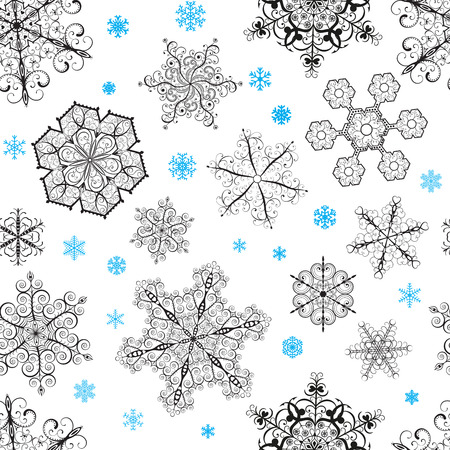 Christmas seamless pattern from big black and small blue snowflakes on white background