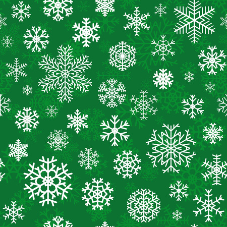 Christmas seamless pattern from white snowflakes on green background Vector