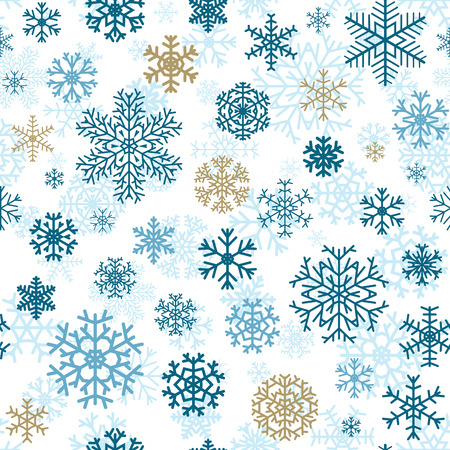 Christmas seamless pattern from multicolored snowflakes on white background
