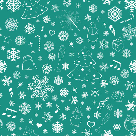 Seamless pattern with snowflakes and Christmas symbols, white on green Vector