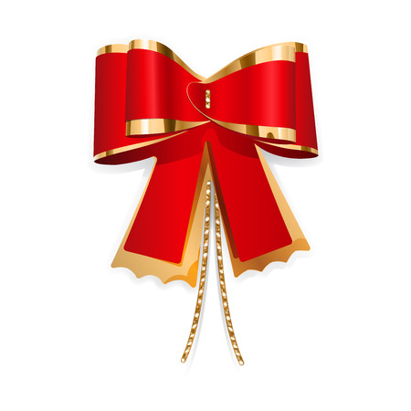 Red and gold bow with laces  Decoration for a gift  Vector